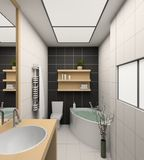 3D rendent l'intérieur moderne de la salle de bains Photo libre de droits