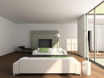 3D rendent l'intérieur moderne de la salle de séjour Photo libre de droits