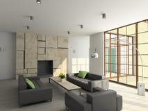 3D rendent l'intérieur moderne de la salle de séjour Images stock
