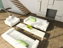 3D rendent l'intérieur moderne de la salle de séjour images libres de droits