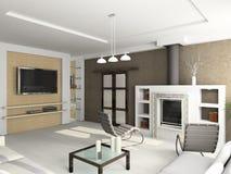 3D rendent l'intérieur moderne de la salle de séjour Photos stock