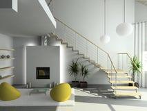 3D rendent l'intérieur moderne de la salle de séjour illustration libre de droits