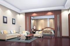 3d rendent l'intérieur moderne de la salle de séjour, chambre à coucher Photos stock