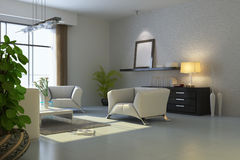 3d rendent la salle de séjour moderne Images stock