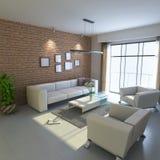 3d rendent la salle de séjour moderne illustration de vecteur