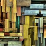 3d rendent le contexte en bois coloré réduit en fragments de planche de bois de construction Photos libres de droits