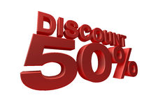 3D render of a 50 percent. Discount sign isolated on a white background Royalty Free Stock Photos