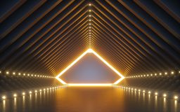 Free 3d Render, Abstract Background, Corridor, Tunnel, Virtual Reality Space, Yellow Neon Lights, Fashion Podium, Club Interior, Empty Royalty Free Stock Image - 144230476
