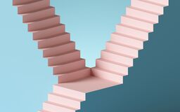 Free 3d Render, Abstract Background With Steps And Staircase, In Pink And Blue Pastel Colors. Architectural Design Elements Stock Image - 192809721