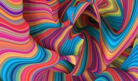 Free 3d Render, Abstract Creative Multicolored Background, Red Blue Yellow Neon Curvy Lines, Folded Ribbons Stock Photography - 156207452