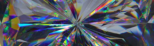 Free 3d Render, Abstract Crystal Background, Iridescent Texture, Macro Panorama, Faceted Gem, Wide Panoramic Polygonal Wallpaper Royalty Free Stock Photography - 141886957