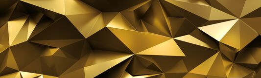 Free 3d Render, Abstract Golden Crystal Background, Crumpled Gold Metallic Texture, Geometrical Brilliant Backdrop, Wide Panoramic Royalty Free Stock Photos - 183821488