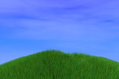 3d render background with grass hill Royalty Free Stock Images