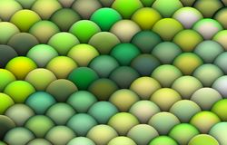 3d render balls in bright green. Isometric 3d render of balls in multiple bright green Royalty Free Stock Photo
