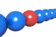 3d render of balls in row. Isolated on white stock illustration