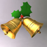 A 3D render of bells. Close-up with plants and gold bells Stock Image
