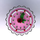 A 3D render of birthday and wedding cake. Close-up and  view top of the pink cake Stock Photo