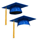 3D render of blue graduation cap Royalty Free Stock Images