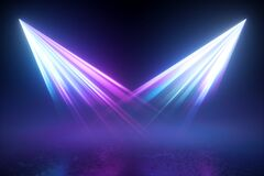 Free 3d Render. Blue Violet Disco Illumination. Searchlights In The Dark. Abstract Background With Two Projectors, Neon Lights Shining Stock Photos - 192456783