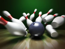 3d render of a bowling ball. A fun 3d render of a bowling ball crashing into the pins. Extreme perspective, depth of field focus on the ball Royalty Free Stock Photo