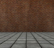 3d render of brick wall with tile pavement Stock Image