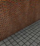 3d render brick wall with tile pavement Stock Photo
