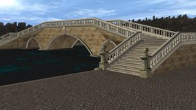 3D Render Bridge over Canal Stock Photography