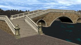 3D Render Bridge over Canal Royalty Free Stock Photo