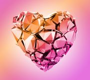 Free 3d Render, Broken Pink Crystal Heart Isolated On Pastel Background Stock Image - 144197701