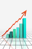 3d Render Business Graph With Arrow. 3d Render Business Graph With Going Up Arrow Stock Image
