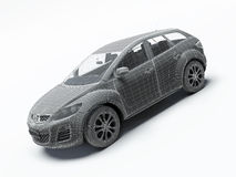 3d render car. 3d render modern car. Wireframe Stock Images