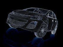 3d render car. Wireframe. 3d render car isolated on black Stock Photo