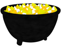 3d Render of a Cauldron Filled with Candy Corn Royalty Free Stock Images