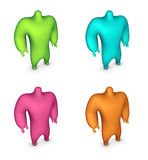 3d render of character in 4 colors Royalty Free Stock Photos