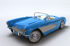 A 3D render of a Chevrolet Corvette 1957. Scene of the legendary car without decor Royalty Free Stock Photos