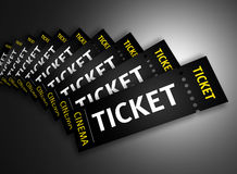 3D render of cinema tickets Stock Images