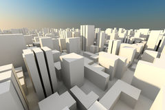 3d render of a city white buildings, and blue sky Royalty Free Stock Images