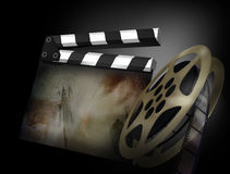 3D render of a clapper board. 3d illustration on dark background Stock Photos