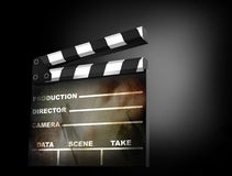 3D render of a clapper board. 3d illustration on dark background Royalty Free Stock Photo