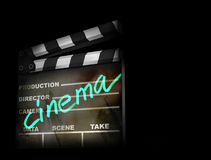 3D render of a clapper board. 3d illustration on dark background Royalty Free Stock Photography