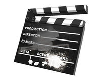 3D render of a clapper board. 3d illustration on white background Royalty Free Stock Photography