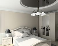 3D render classic interior of bedroom Stock Images