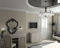 3D render classic interior of bedroom Stock Photo