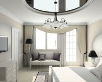 3D render classic interior of bedroom Royalty Free Stock Photos