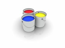3d render of color cans. 3d color cans: red, yellow and blue Stock Images
