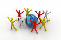 3d render of colored  people around globe Royalty Free Stock Photography