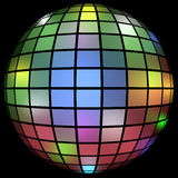 3d Render of a Colorful Disco Ball. Isolated on black Stock Photos