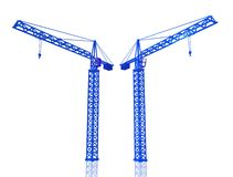 3D Render of cranes. 3D Render of two blue cranes on white isolated background Stock Image