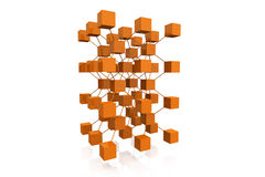 3D Render Cubes With Connections Stock Image