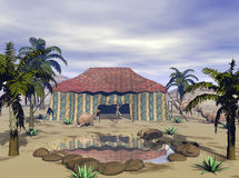 3D Render Desert Oasis. Desert Oasis, 3D models, computer generated. 3d rendered landscape terrain Vector Illustration
